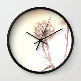 Pink Distant Dandelion Flower - Floral Nature Photography Art and Accessories Wall Clock