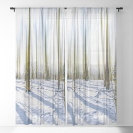 Stretched Tree Tops with Snow in the Forest Sheer Curtain