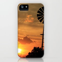 Kansas Golden Sunset with Windmill Silhouette. iPhone Case
