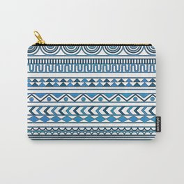 Blue Geometrics on White Background Carry-All Pouch