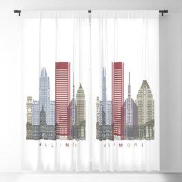 Baltimore V2 skyline poster Blackout Curtain