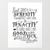stephen king Art Prints featuring God, Grant Me.. quote by Stephen King by Evie Seo