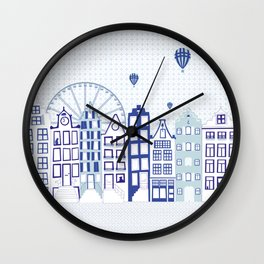 Dutch canal houses from Amsterdam in delft blue Wall Clock