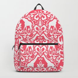 Giraffe Damask Coral Backpack