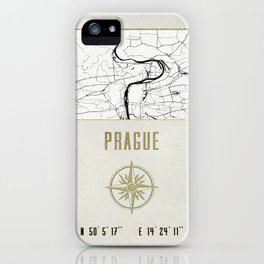 Prague - Vintage Map and Location iPhone Case