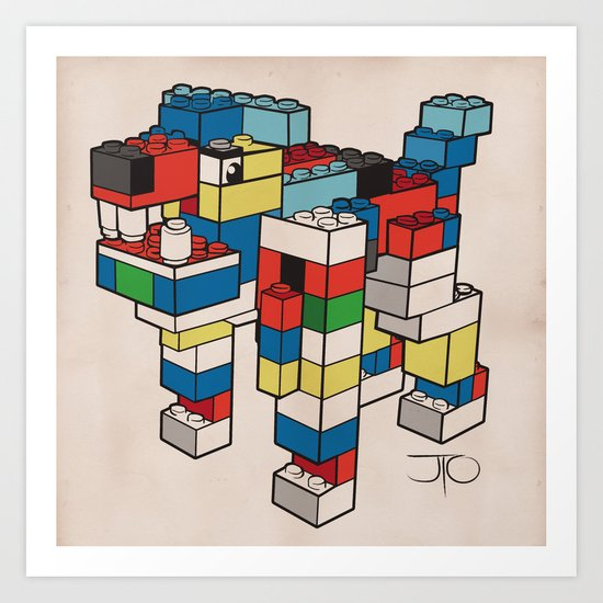 Block Hound Art Print