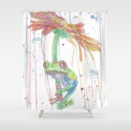 """Watercolor Painting of Picture """"Red Eyed Frog"""" Shower Curtain"""