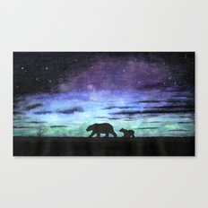 Aurora borealis and polar bears (black version) Canvas Print