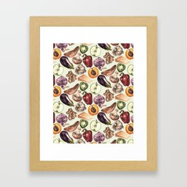 Food Pattern Framed Art Print