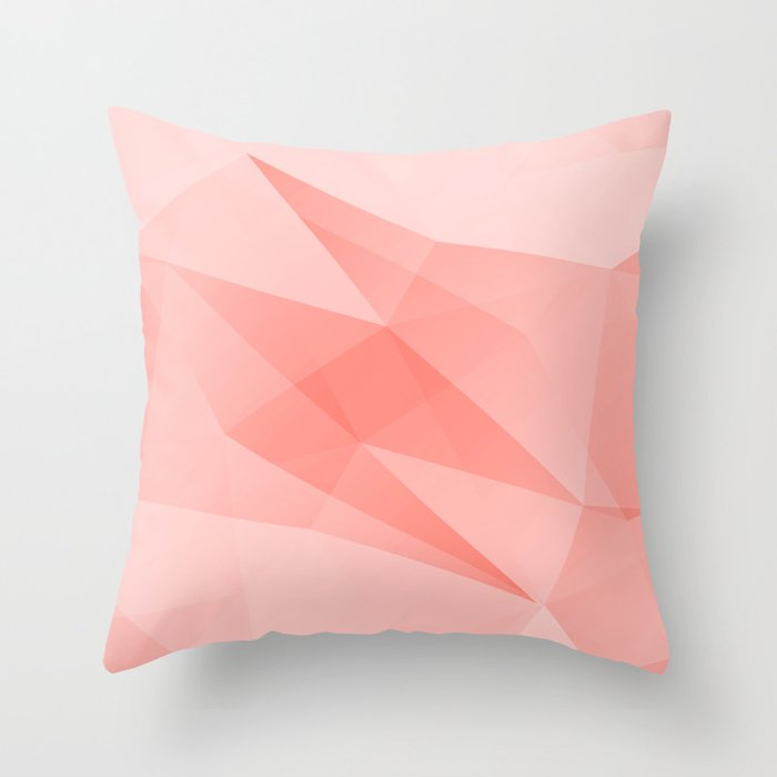 Pantone Living Coral Color of the Year 2019 on Abstract Geometric Shape Pattern Throw Pillow