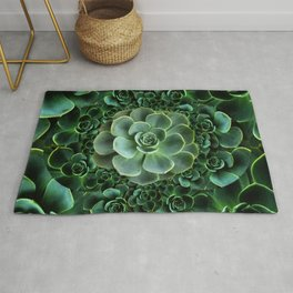 ORNATE JADE & DARK GREEN SUCCULENT  GARDEN Rug