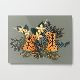 Cute Golden Tiger Pair Metal Print