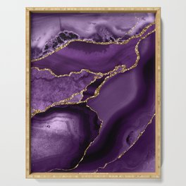 Glamour Purple Bohemian Watercolor Marble With Glitter Veins Serving Tray