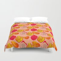 pomegranate Duvet Covers featuring Pomegranate by Louise Elizabeth