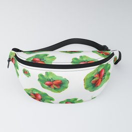 Pixie Green Leaves Pattern With Red Berry Centers Fanny Pack
