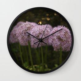 Purple Allium Ornamental Onion Flowers Blooming in a Spring Garden 2 Wall Clock