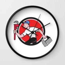 Plumber Running Toolbox Adjustable Wrench Cartoon Wall Clock