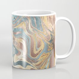 Liquid Gold and Rose Gold Marble Coffee Mug