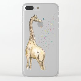Young Giraffe with Butterflies Clear iPhone Case