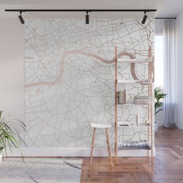 White on Rosegold London Street Map Wall Mural