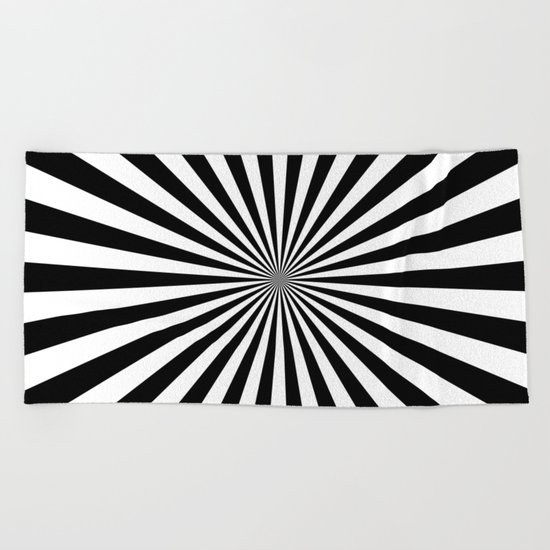 Starburst (Black/White) Beach Towel