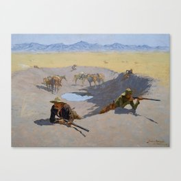 "Frederic Remington Western Art ""Fighting for the Waterhole"" Canvas Print"
