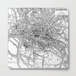 Vintage Map of Hamburg Germany (1911) Metal Print