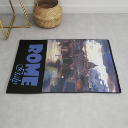 Rome Italy Retro Travel Poster Rug