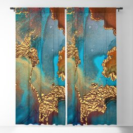 Abstract Blue And Gold Autumn Marble Blackout Curtain