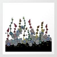 mushroom Art Prints featuring mushroom by SENGA