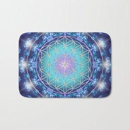 Flower Of Life Mandala Fractal turquoise Bath Mat
