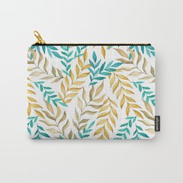 Tropical leaves (yellow and blue). Watercolor Carry-All Pouch