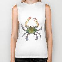 crab Biker Tanks featuring Crab by Sara Katy