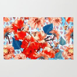 Geometric Flowers and Bees Rug