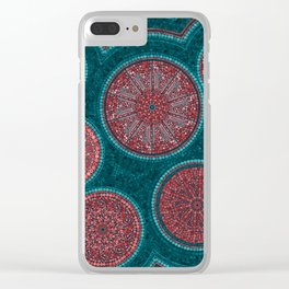 Dot Art Circles Abstract Living coral and teal Clear iPhone Case
