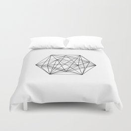 Geometric Crystal - Black and white geometric abstract design Duvet Cover