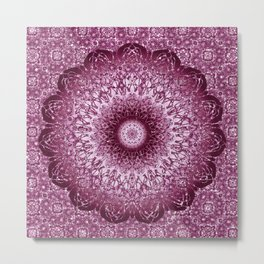 Cabernet Lace Mandala Metal Print