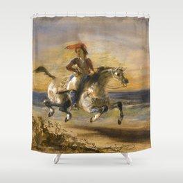"""Eugène Delacroix """"A Greek Horseman"""" Shower Curtain"""