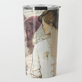 Collage Art, Mail Art, Vintage Art, Retro, Woman's Back Travel Mug