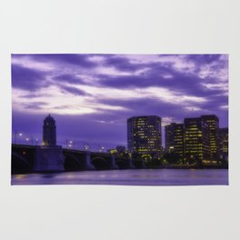 City at sunset Rug
