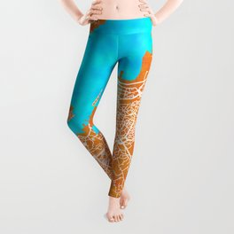 Vigo, Spain, Gold, Blue, City, Map Leggings