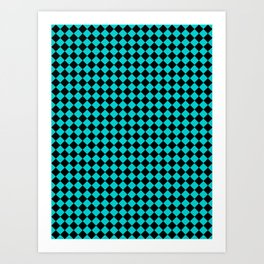 Black and Cyan Diamonds Art Print