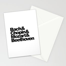 Bach and Chopin and Mozart and Beethoven, sticker, circle, white Stationery Cards