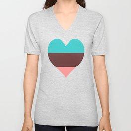 Tri Color Heart Unisex V-Neck