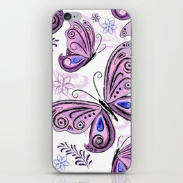 Colorful Butterflies and Flowers V12 iPhone Skin