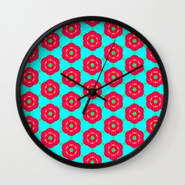 Funky red fowers pattern Wall Clock