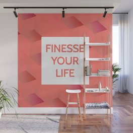 Finesse Your Life - Living Coral Typography Wall Mural