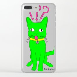 """Heckin Confused Derp Cat"", by Brock Springstead Clear iPhone Case"