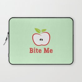 Red Apple Illustration - Bite Me Typography Laptop Sleeve