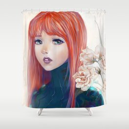 Captain Goldfish - Anime sci-fi girl with red hair portrait Shower Curtain